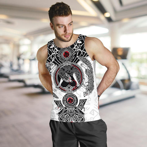 Image of 1stIceland Viking Men's Tank Top, Fenrir Skoll And Hati Valknut White TH00 - 1st Iceland