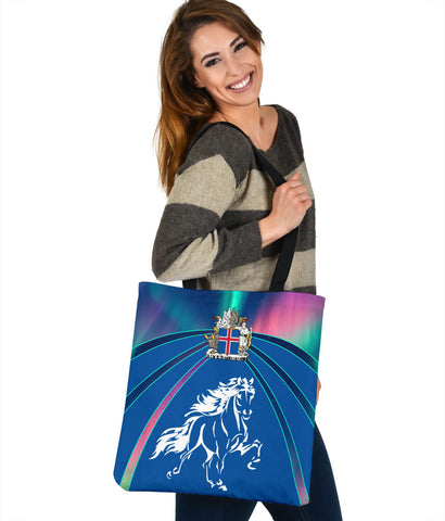 1stIceland Pullover Tote Bag, Icelandic Horse Coat Of Arms Northern Lights K4 - 1st Iceland