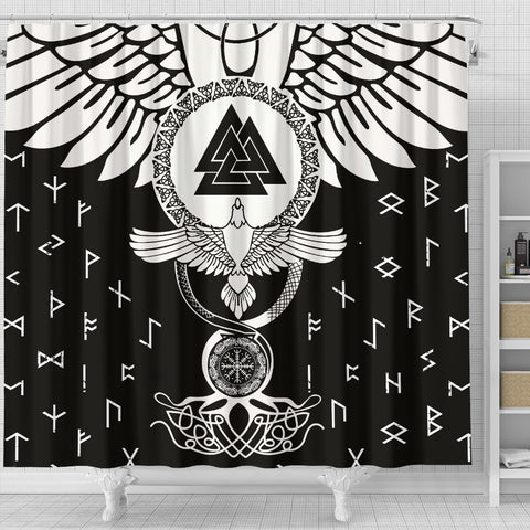 1stIceland Viking Shower Curtain, Flying Raven Tattoo And Valknut - 1st Iceland