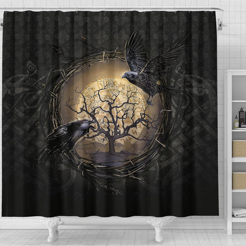 Image of 1stIceland Viking Shower Curtains, Odin's Raven Tree Of Life Valknut Rune Circle K6 - 1st Iceland