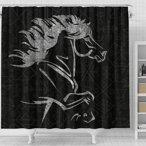 Image of 1stIceland Viking Shower Curtain, Icelandic Horse Coat Of Arms K4 - 1st Iceland