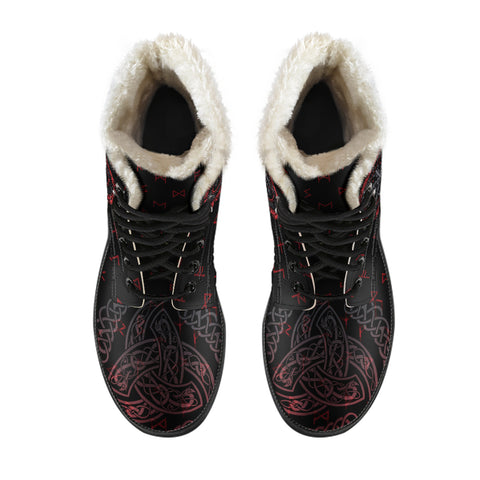Image of 1stIceland Viking Faux Fur Leather Boots, Helm Of Awe Triskele Runes K5 - 1st Iceland