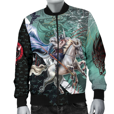 The Viking Runes Men Bomber Jacket Odin And Sleipnir K13 - 1st Iceland