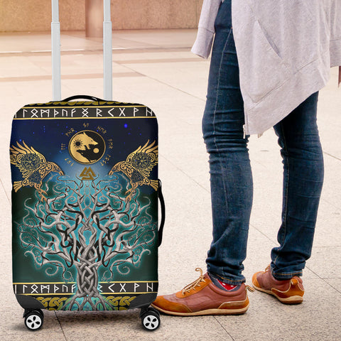 Image of 1stIceland Viking Luggage Covers, Tree Of Life Fenrir Skoll And Hati Raven Rune TH00 - 1st Iceland