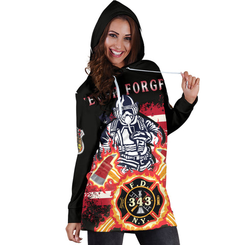 Image of 1stIceland American Firefighters Women Hoodie Dress 9.11.01 Memorial K8 - 1st Iceland