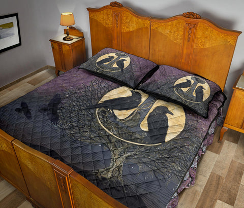 Image of 1stIceland Viking Quilt Bed Set, Raven And Tree Of Life K5 - 1st Iceland