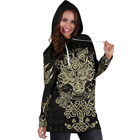 1stIceland Viking Wolf Fenrir Women's Hoodie Dress TH12 - 1st Iceland