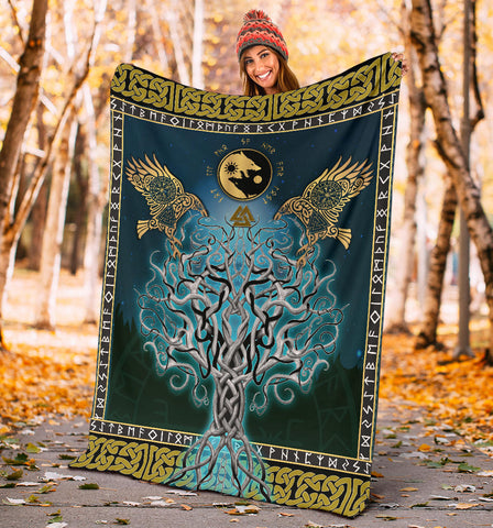 1stIceland Viking Premium Blanket, Tree Of Life Fenrir Skoll And Hati Raven Rune TH00 - 1st Iceland