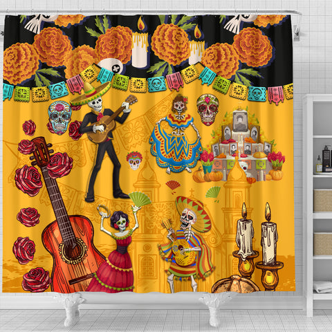 Image of 1stIceland Mexican Día de Muertos Shower Curtain Cempasúchil Flowers K8 - 1st Iceland