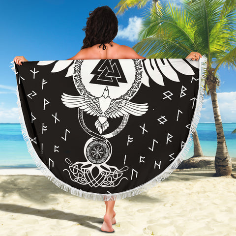 1stIceland Viking Beach Blanket, Flying Raven Tattoo And Valknut - 1st Iceland