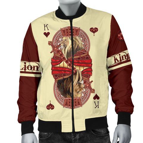 1stIceland King Hearts Lion Poker Men Bomber Jacket TH12 - 1st Iceland