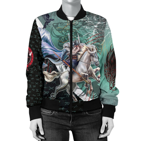 The Viking Runes Women Bomber Jacket Odin And Sleipnir K13 - 1st Iceland