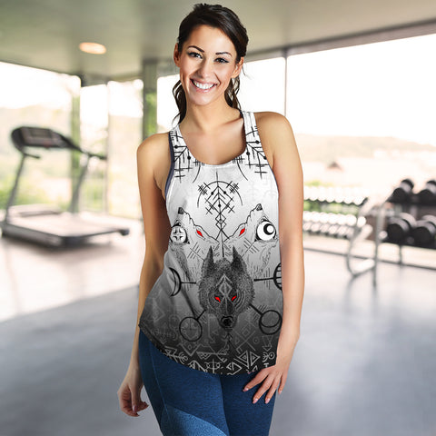 Image of 1stIceland Viking Wolf Women Racerback Tank Runes Special K13