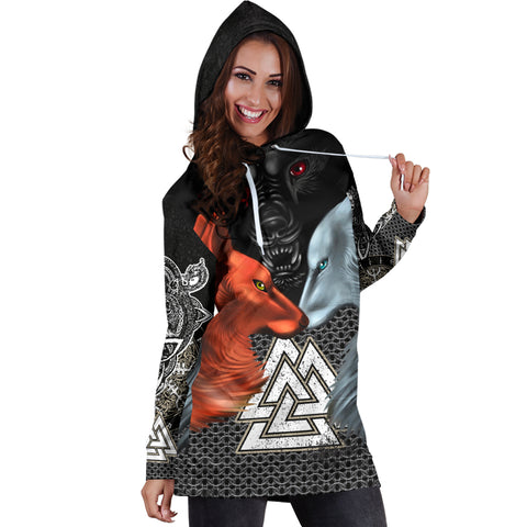 1stIceland Viking Hoodie Dress, Hati and Skoll Valknut ChainMail K13 - 1st Iceland