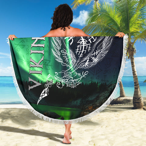 1stIceland Viking Beach Blanket Northern Lights TH12