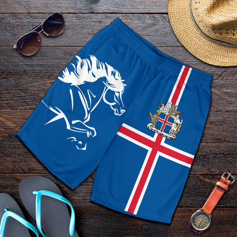 Image of 1stIceland Men Short, Icelandic Horse Flag Coat Of Arms K4 - 1st Iceland