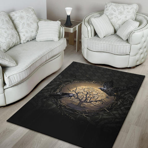 Image of 1stIceland Viking Area Rugs, Odin's Raven Tree Of Life Valknut Rune Circle K6 - 1st Iceland