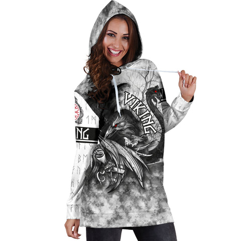 1stIceland VIking Women's Hoodie Drees Raven And Drakkar TH12 - 1st Iceland