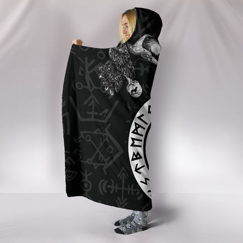 1stIceland Viking Hooded Blanket, Fenrir Skoll And Hati Valknut Raven TH00 - 1st Iceland