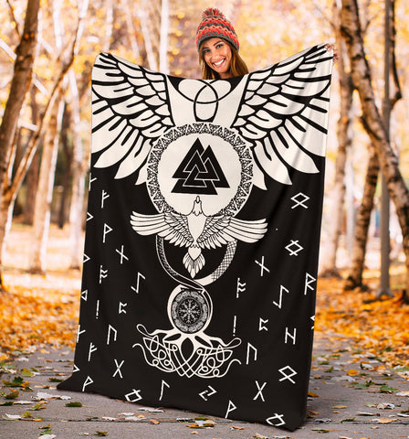 Image of 1stIceland Viking Premium Blanket, Flying Raven Tattoo And Valknut - 1st Iceland