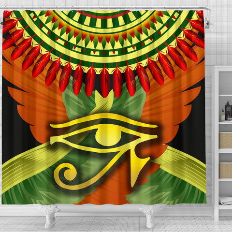 Image of 1stIceland Horus Eye Shower Curtain Ankh Egypt Eagle Wings K8 - 1st Iceland