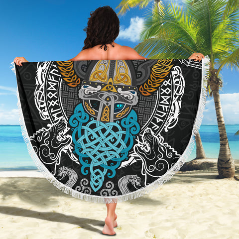 1stIceland Viking Beach Blanket, Odin Helmet Valnut Helm Of Awe Odin A7 - 1st Iceland