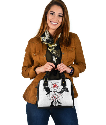 1stIceland Viking Shoulder Handbag, Vegvisir Hugin and Munin with Fenrir Yggdrasil K4 - 1st Iceland