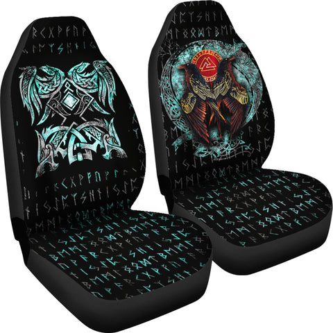1stIceland Viking Car Seat Covers Raven Moon Tattoo TH12 - 1st Iceland