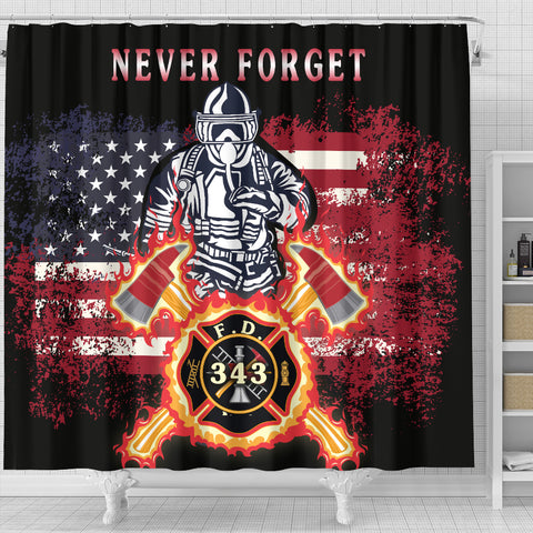 1stIceland American Firefighters Shower Curtain 9.11.01 Memorial K8 - 1st Iceland