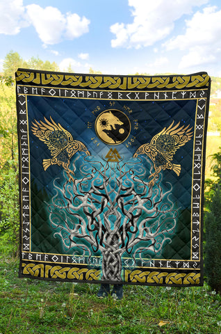 1stIceland Viking Premium Quilt, Tree Of Life Fenrir Skoll And Hati Raven Rune TH00. - 1st Iceland