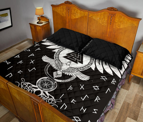 1stIceland Viking Quilt Bed Set, Flying Raven Tattoo And Valknut