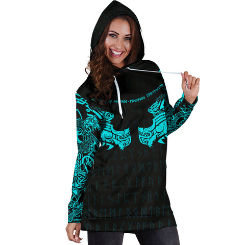 Image of 1stIceland Viking Women Hoodie Dress, Fenrir Tattoo The Ragnarok - Blue K4 - 1st Iceland