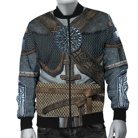 1stIceland Vikings Bomber Jacket for Men, 3D Vikings Armor with Helm Of Awe Th00 - 1st Iceland