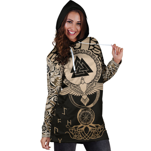1stIceland Viking Hoodie Dress, Flying Raven Tattoo And Valknut Gold - 1st Iceland