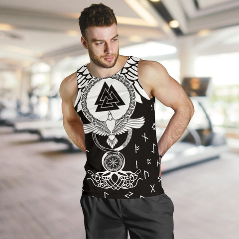 Image of 1stIceland Viking Men Tank Top, Flying Raven Tattoo And Valknut - 1st Iceland