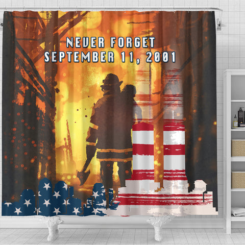 1stIceland American Firefighters Shower Curtain 9.11.01 Never Forget K8 - 1st Iceland
