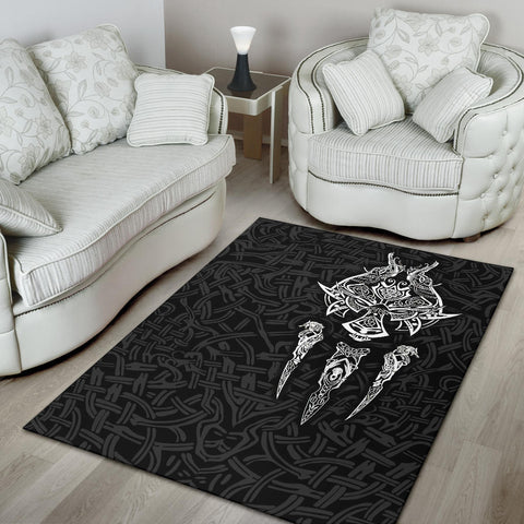 1stIceland Viking Area Rug, Fenrir The Vikings Wolves Th00 Black - 1st Iceland