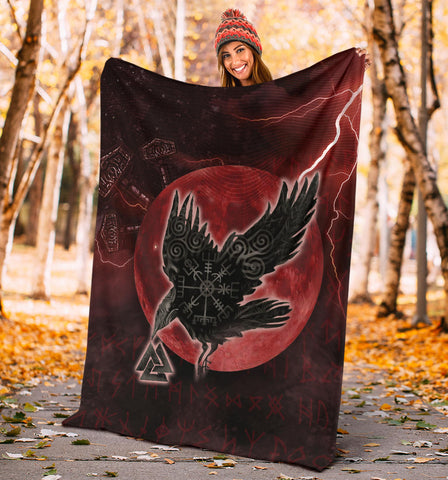 Image of 1stIceland Viking Premium Blanket, Raven Helm Of Awe Valknut Mjolnir Rune TH70 - 1st Iceland