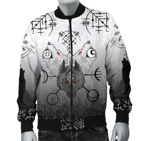 1stIceland Viking Men Bomber Jacket Wolf Runes Special K13