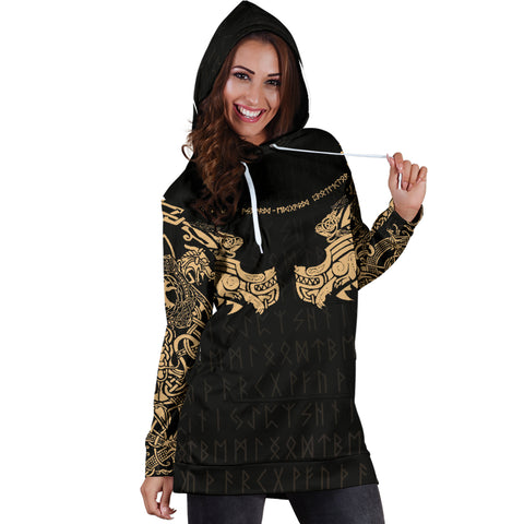 1stIceland Viking Women Hoodie Dress, Fenrir Tattoo The Ragnarok - Gold K4 - 1st Iceland