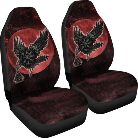 1stIceland Viking Car Seat Covers, Raven Helm Of Awe Valknut Mjolnir Rune TH70 - 1st Iceland