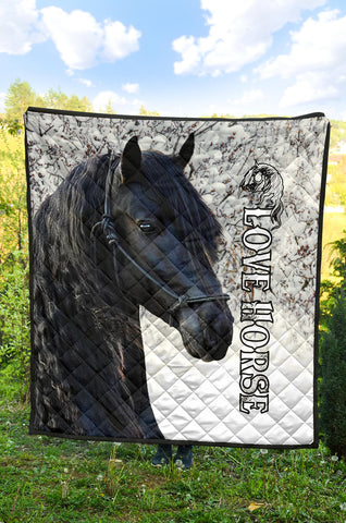 1stIceland Beautiful Friesian Horse Premium Quilt TH12 - 1st Iceland