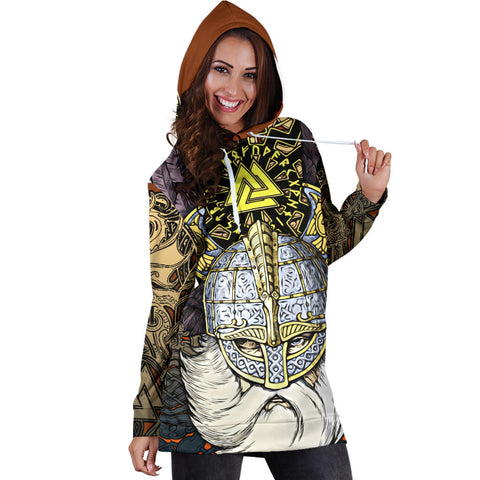 1stIceland Viking Hoodie Dress, Odin Norse Mythology Runes Valknut Th00 - 1st Iceland