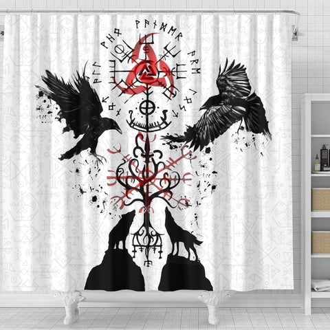 Image of 1stIceland Viking Shower Curtain, Vegvisir Hugin and Munin with Fenrir Yggdrasil K4 - 1st Iceland