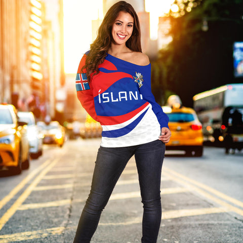 1stIceland Off Shoulder Sweater, Ísland Flag Coat Of Arms Sport Style K4 - 1st Iceland