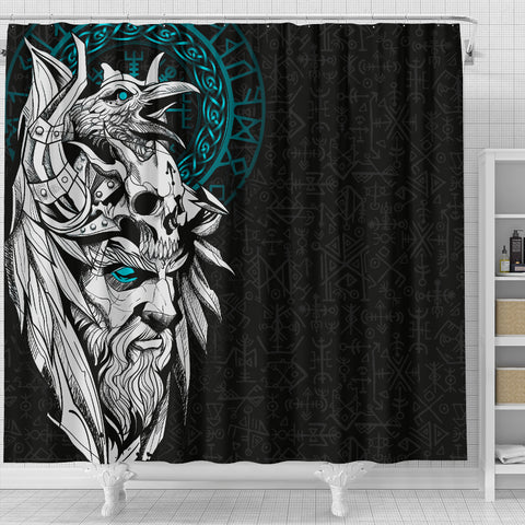 1stIceland Viking Odin And Raven Turquoise Shower Curtain TH12