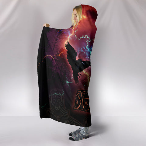 Image of 1stIceland Viking Hooded Blanket, Mjolnir Huggin And Muninn - 1st Iceland