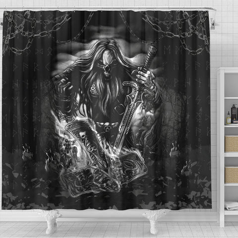 1stIceland Viking Shower Curtain, Norse Horsemen Valhalla K6 - 1st Iceland