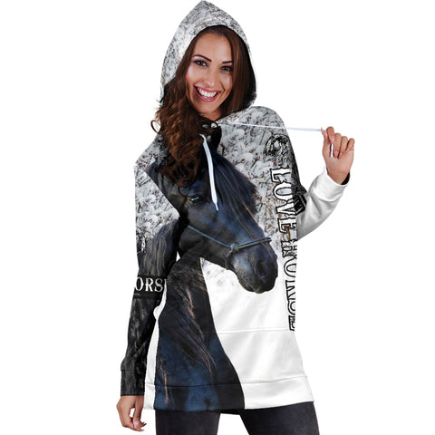 1stIceland Beautiful Friesian Horse Women Hoodie Dress TH12 - 1st Iceland