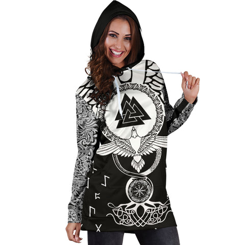 1stIceland Viking Hoodie Dress, Flying Raven Tattoo And Valknut - 1st Iceland